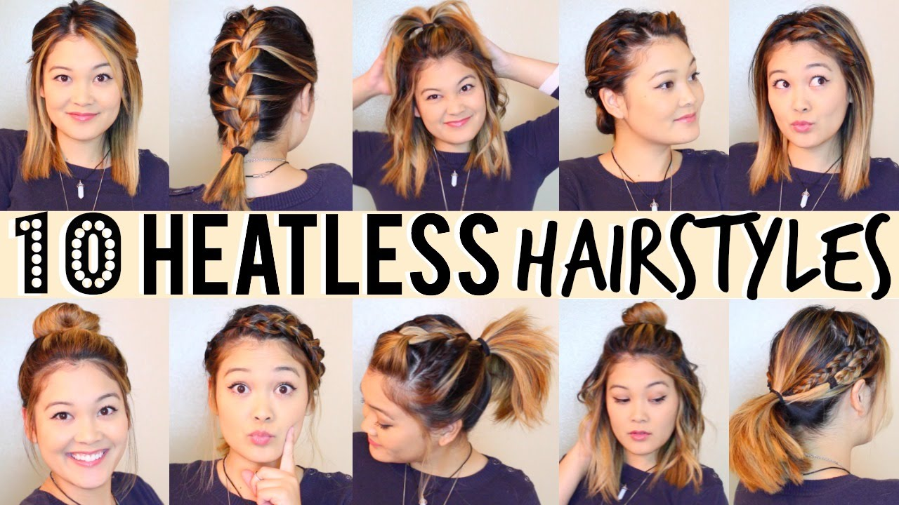 10 Heatless Hairstyles // Under 5 Minutes - YouTube