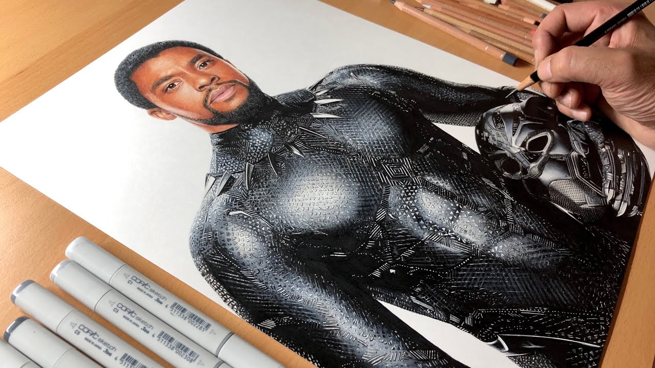 Black Panther Drawing - Chadwick Boseman Tribute - Timelapse | Artology