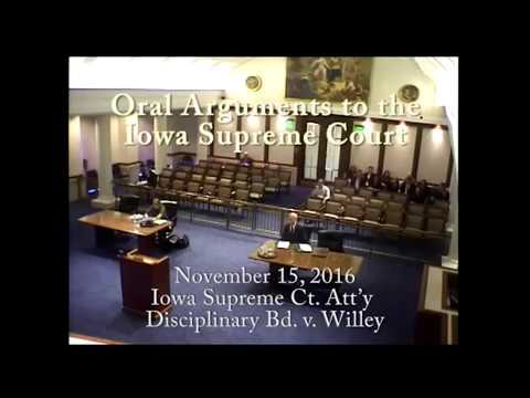 16–1228 Iowa Supreme Court Attorney Disciplinary Bd. v. Bruce A. Willey, November 16, 2016
