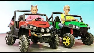 Max and Arina Plays with Ride On Jeep Cars Toy