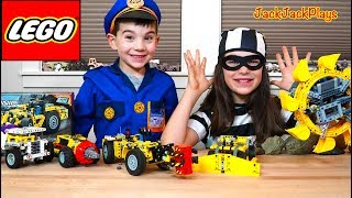 Lego Mining Trucks Unboxing MYSTERY! + Pretend Play Cops and Robbers Skit