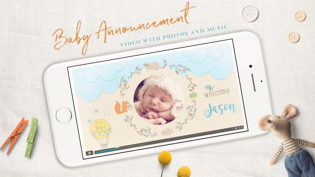 Woodland Newborn Announcement for Boys, Electronic Invitation, Baby Birth Announcements