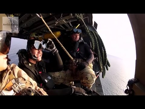 USAF Pararescue in HH-60 Pave Hawk Helicopter Over Okinawa, Japan