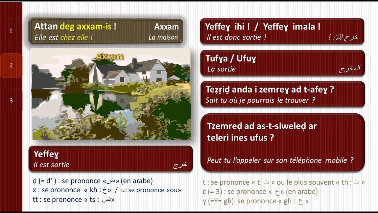 INTERACTIVE Amazigh/Kabyle : Tamsirt tis° 3 = Leçon n°3 = 3 درس رقم  (Ver. 2) Algerie