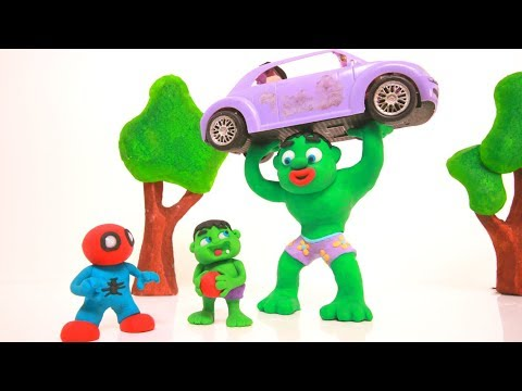 STRONG HULK LIFTS A CAR ❤ Superhero Babies & Frozen Elsa Play Doh Cartoons For Kids ❤ Stop Motion