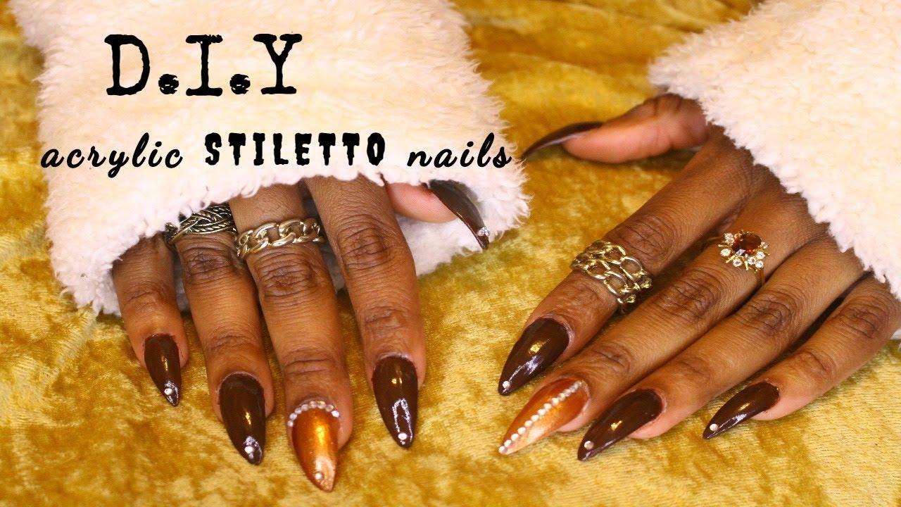 $12 Full Set | DIY Acrylic Nails | STILETTO NAILS | frizzeecurlz ...