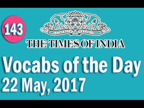 The Times of India Vocabulary (22 May, 2017) - Learn 10 New Words with Tricks | Day-143