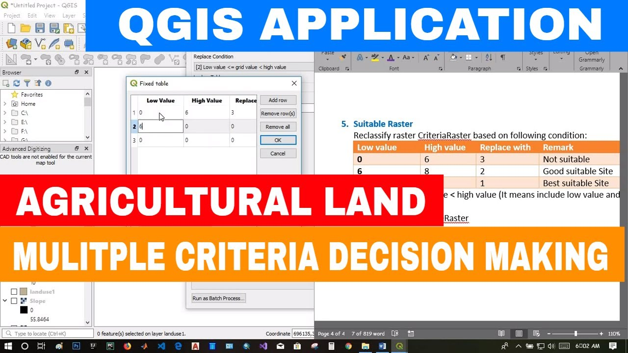 [QGIS APPLICATION] Multiple Criteria Decision Making For Selection of  Suitable Agricultural Land