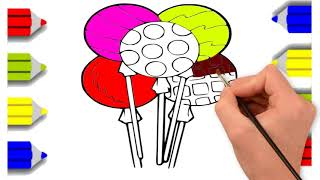Lolipop Drawing For Children | Kids Coloring Pages | How To Draw & Color Step By Step
