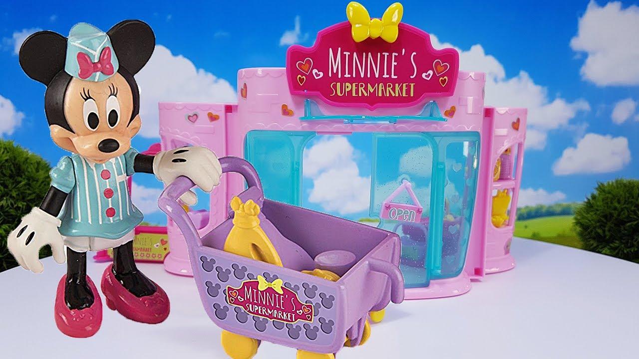 minnie maus supermarkt einkaufsladen spielset disney spielzeug f r kinder youtube. Black Bedroom Furniture Sets. Home Design Ideas