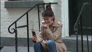 Selena Gomez FaceTiming Her Boyfriend The Weeknd On Set Of Woody Allen's Movie In New York 9/21/2017