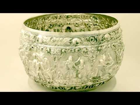 Burmese Silver Thabeik Bowl - Antique Circa 1880 - AC Silver (W8074)