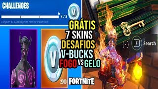 FORTNITE-7 SKINS, NEW MAP FIRE VS ICE AND V-BUCKS IN CHALLENGES?