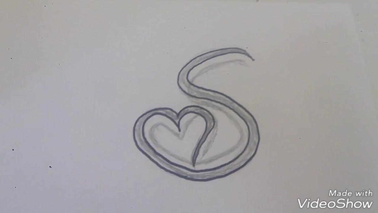 رسم حرف S بداخله قلب جميله وبسيطه وسهله التنفيذ Youtube