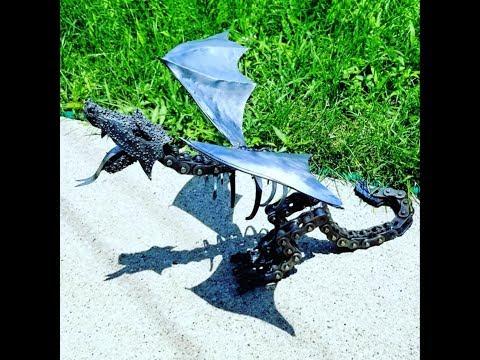 Scrap Metal Winged Dragon Welding Project Timelapse Video