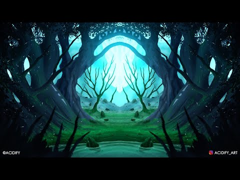 Fantasy Landscape Photoshop Timelapse Tutorial / Symmetry Art / Digital Painting Fantasy Forest 2020