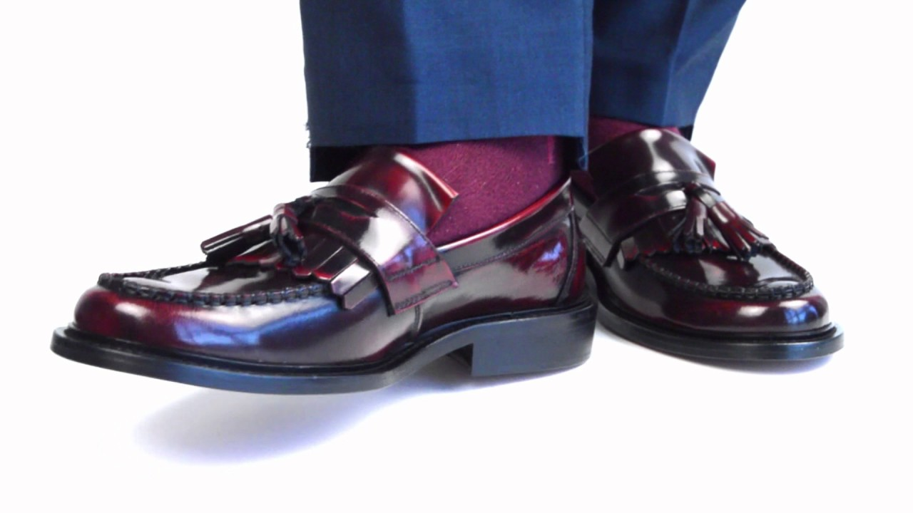 d908c40594bff Oxblood & Black Leather Tassel Loafers By Modshoes