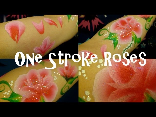 One stroke roses face painting tutorial.