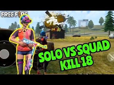 DITINGGAL SOLO VS SQUAD NGAMUK SAMPE KILL 18!! - FREE FIRE BATTLEGROUND