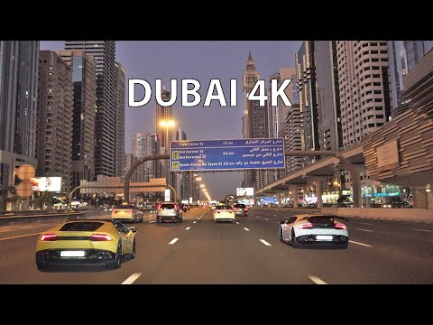 Dubai 4K - Driving Downtown - Skyscraper Sunset