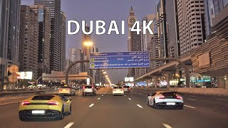 Dubai 4K - Driving Downtown - Skyscraper Sunset