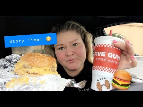 I got banned from my husbands workplace for this: STORYTIME & (5 GUYS MUKBANG)