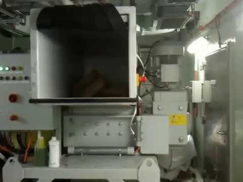 Garbage Room tour of the cruise ship Oceania Marina