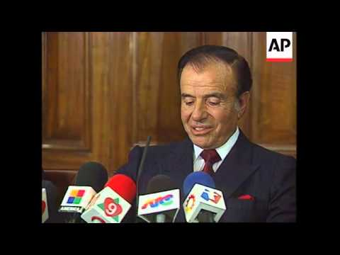 UK: LONDON: ARGENTINIAN PRESIDENT MENEM PRESS CONFERENCE
