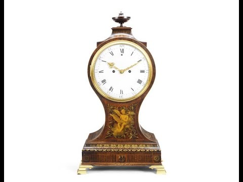 Fine Antique Painted Satinwood Clock By James McCabe