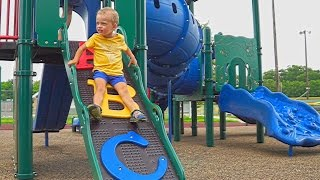 Maxim playing at kids playground & having fun video for children adults toys superhero entertainment