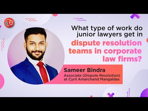 What type of work do junior lawyers get in dispute resolution team of a law firm