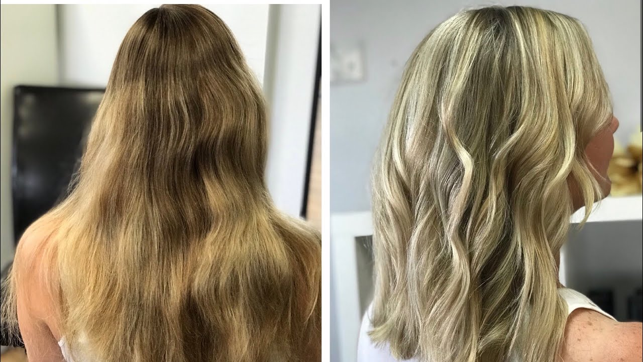 How To Medium Length Bright Blonde With Balayage And Highlights