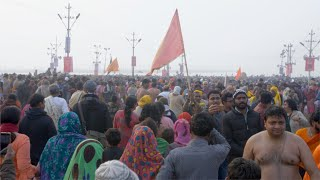 The crowd of Indian Hindu devotees attending the Kumbh Mela 2019 - Indian festival