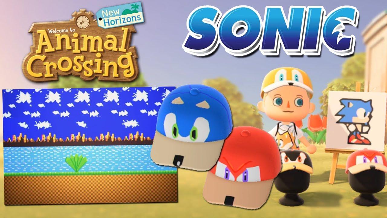 Animal Crossing New Horizons Custom Designs Sonic Hats Green Hill Zone Tiles Youtube