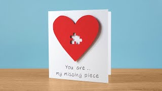 Missing puzzle piece card tutorial   DIY - Love & Valentine's Day greeting card