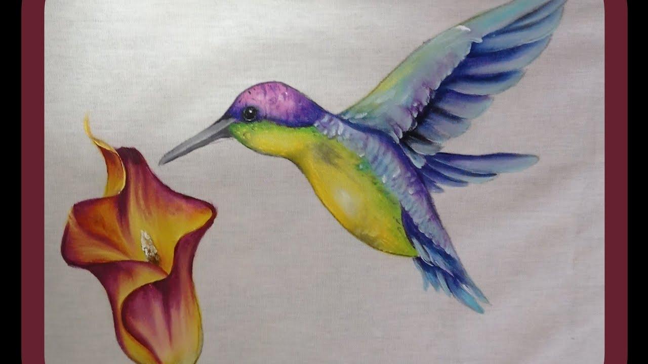 Live como pintar beija-flor #pinturaemtecido