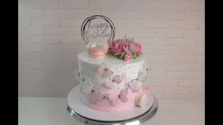 Торт с БАБОЧКАМИ 3 ВИДА роз ОДНОЙ насадкой Украшение торта белково заварным кремом Торт с макаронс