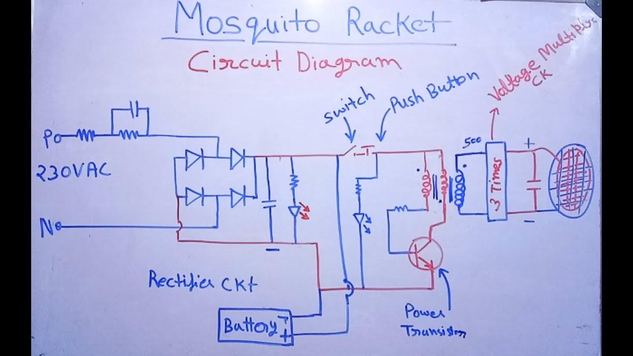 Mosquito bat circuit diagram | इलेक्ट्रिक मॉस्किटो बैट सर्किट - YouTube | Bat Wiring Diagram |  | YouTube