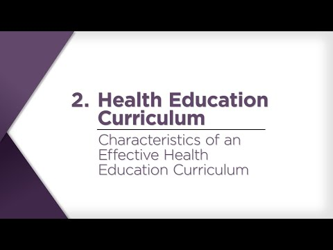 Characteristics of an Effective Health Education Curriculum