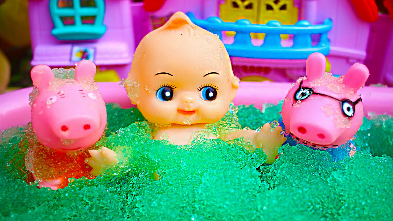 Peppa pig slime pool party peppa pig bath toys peppa pig for Peppa pig en piscina