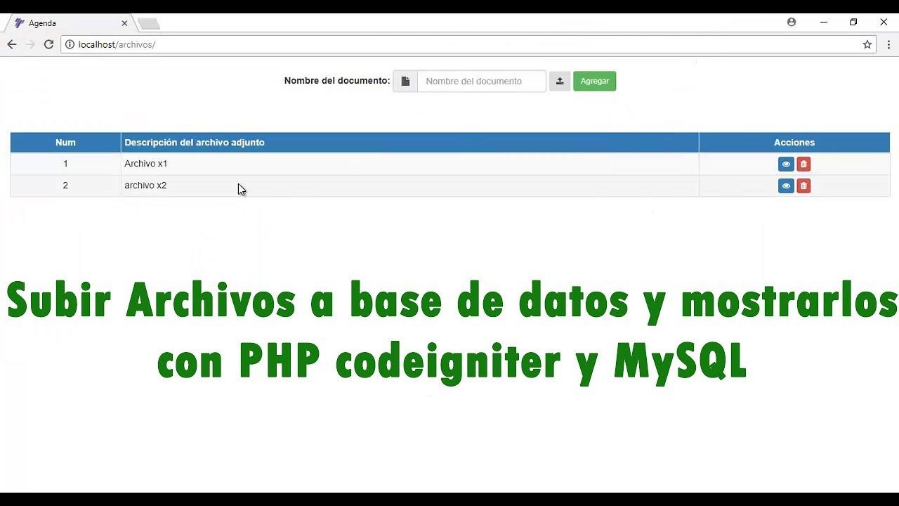 subir archivos en PHP con codeigniter - YouTube