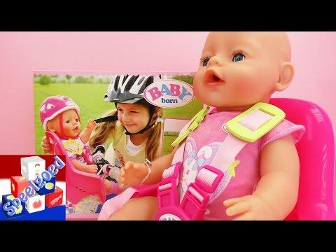 Baby Born fietsset - Fietsstoeltje voor onze Baby Born pop - onderweg set
