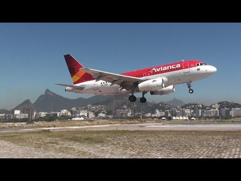 Aeroporto Santos Dumont Aviões Decolando e Pousando Perigo AVIANCA GOL TAM AZUL