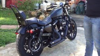 Vance and Hines Short Shots Quiet Baffles Before and after Harley Davidson Iron 883 2016