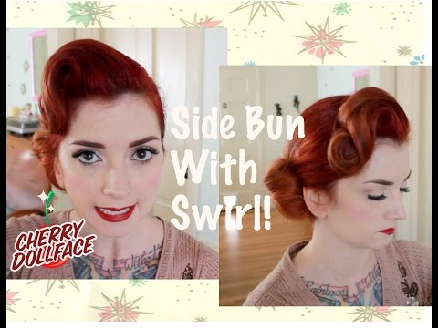 Vintage Hair Tutorial: Side Bun With Front Wave By CHERRY DOLLFACE