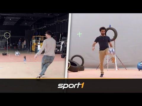 Fake oder nicht? Messi und Salah zaubern bei Bottle-Flip-Challenge | SPORT1