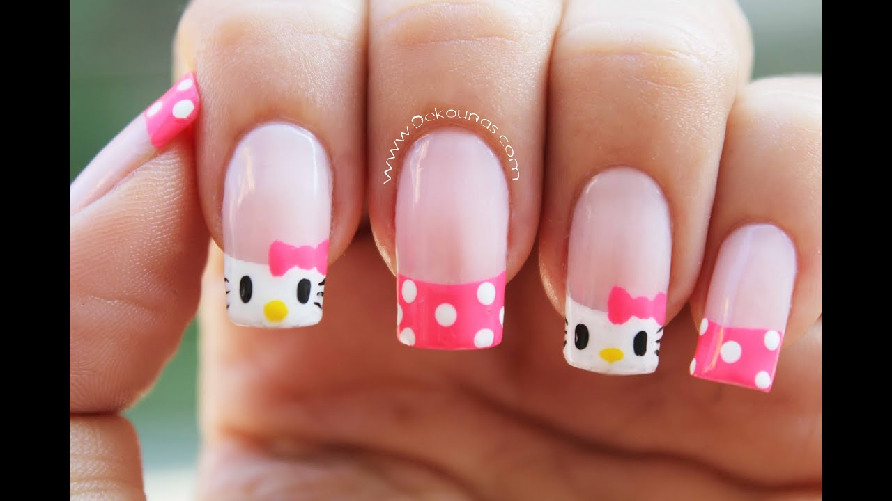 Decoracion De Unas Hello Kitty Hello Kitty Nail Art Youtube