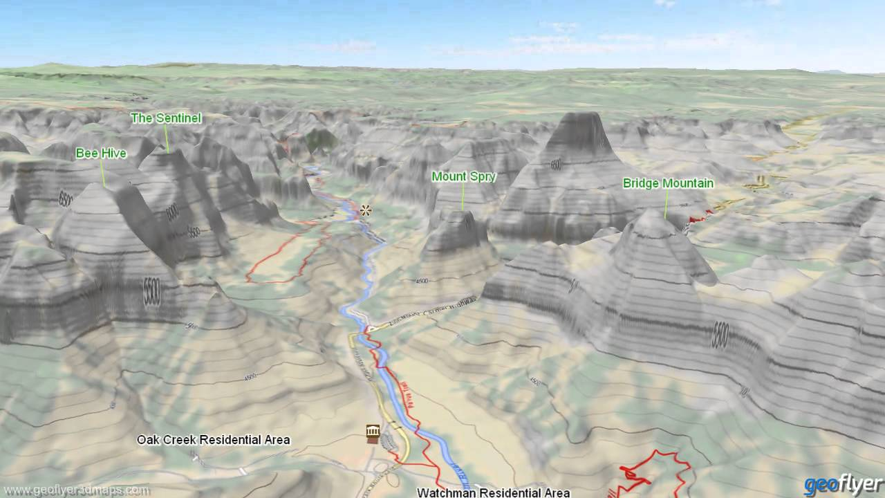 Zion and Bryce Canyon US National Parks 3D Maps 3D Topo Map