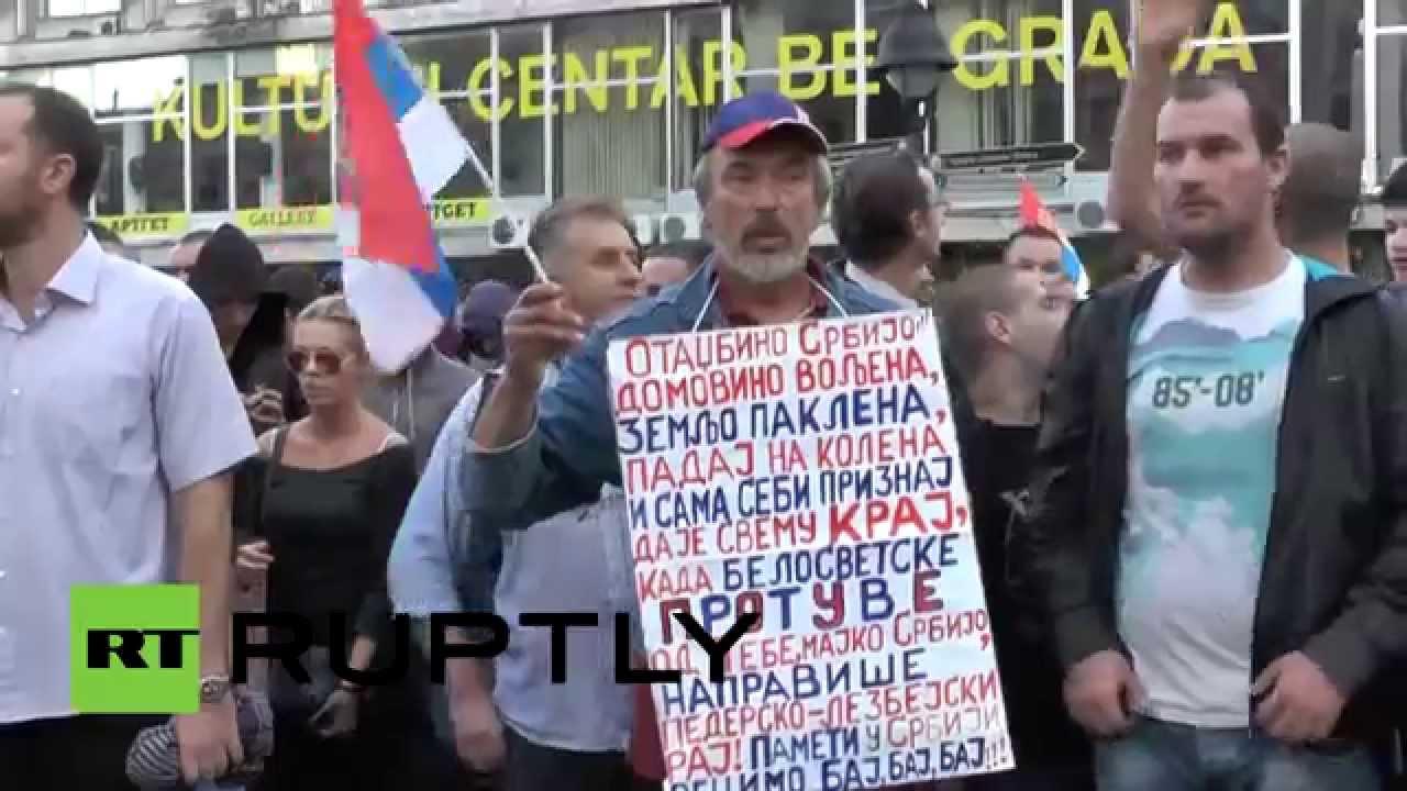 В Белграде прошло массовое шествие противников гей-парадов