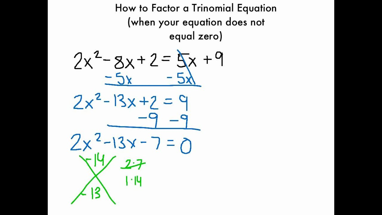 How To Factor A Trinomial Equation (when Your Equation Does Not Equal 0)